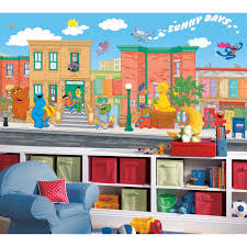 Sesame Street Bedroom Decorations Roommates Sesame Street Chair Rail Mural Kids And Nursery Wall