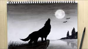 Failed verification failed verification the technically accurate term is grayscale, or more specifically grayscale monochrome. Howling Wolf Drawing Black And White How To Draw Wolf Howling At The Moon Drawing Night Scenery Youtube