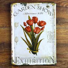 metal wall art decor tulip garden poster tin signs house bar cafe painting vintage plaques 15 20 cm gy 01513 free shipping in plaques signs from home  on retro outdoor metal wall art with metal wall art decor tulip garden poster tin signs house bar cafe