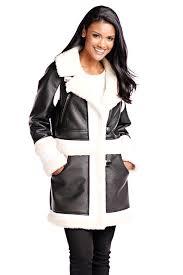 black faux leather faux sherpa coat