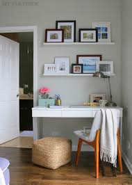 office desk in living room. small officewhite ikea shelves paint deskif i were my desk would be scared just looked at it and thought office in living room n