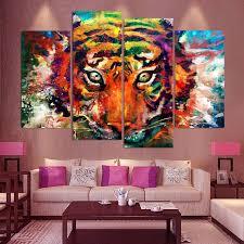 4 panneau toile art toile peinture color peinture tigre hd