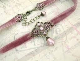<b>Dusty Pink</b> Velvet Choker - Antique Pink Swarovski Pearl Antique ...