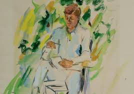 this emerald portrait of john f kennedy shows elaine de kooning quick color