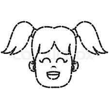 Cute Girl Face Icon Vector Stock Vector Colourbox