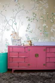 Lacquered mid-century Asian-inspired dresser with AMAZING De Gournay  hand-painted metallic