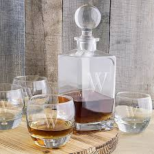 5 piece personalized whiskey decanter glasses set