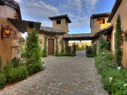 the tuscan style house plans with courtyard house style design at driveway