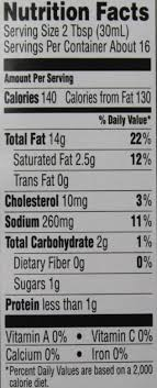 best yet ranch salad dressing nutrition facts