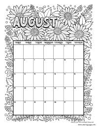 August Calendar Coloring Pages Printable