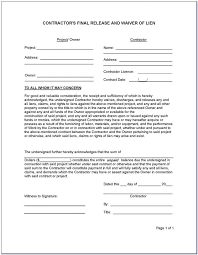Free Subcontractor Lien Waiver Form Subcontractor Lien Release Form California Form Resume Examples
