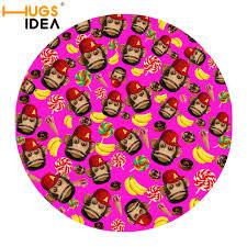 HUGSIDEA 60X60CM Round Carpet Rugs for Living Room Bedroom Monkey ...
