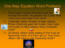 5 one step equation word problems