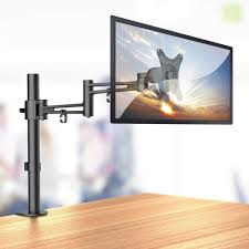single lcd monitor arm with pole and desk clamp