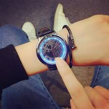 led touch screen watch unique cool watch with tree pattern simple black dial 60 blue lights watch with soft black leather strap