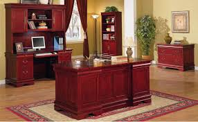 Home office furniture cherry Sauder Furniture Depot Deep Cherry Classic Office Desk Wstorage Drawers