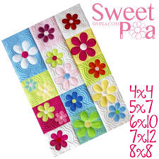 Machine Embroidery Designs - Baby Quilt Patterns - Sweet Pea & Flower blocks and quilt in the hoop machine embroidery design ... Adamdwight.com