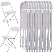 folding chairs for sale. New 10Pcs Commercial White Plastic Folding Chairs Stackable Wedding Party Chair For Sale
