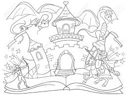 coloring fairy open book tale concept kids ilration with evil dragon brave warrior and magic