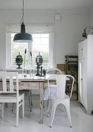 white tolix chair farm table and barn lighting