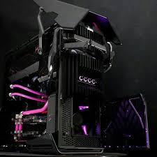 pink black computer pc mod modification setup gaming computer rig tower i m going to go cry in a corner now