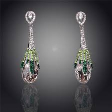18k silver plated drop earrings for women fashion jewelry bridal chandelier long drop earrings bridal chandelier long drop earrings