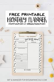 Free Printable Monthly At A Glance Planner Dawn Nicole Designs