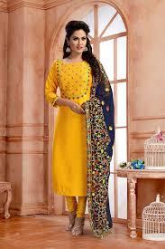 Plain Silk Salwar Kameez Designs Lavish Yellow Designer Suit With Resham