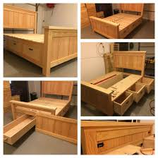 it is a queen farmhouse storage bed with a storage drawer