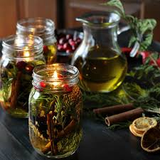 mason jar oil candle lamp tutorial beautiful pine cones evergreens and cinnamon sticks