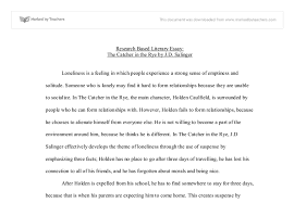 loneliness in the catcher in the rye persuasive essay a level  document image preview