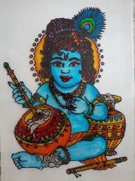 glass painting of lord krishna
