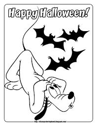 Pluto With Bats Disney Halloween Coloring