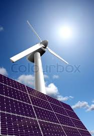 renewable energy from solar energy panel and wind power plant  renewable energy from solar energy panel and wind power plant stock photo colourbox
