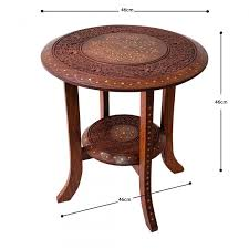 jali round wooden coffee end table with
