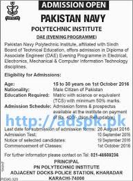 new admissions navy polytechnic institute karachi  new admissions 2016 navy polytechnic institute karachi for dae diploma of associate engineering electrical mechanical