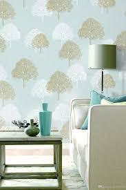 Wallpaper For Living Room Feature Wall Modern Simple Art Trees Forests On Light Blue Wallpaper Bedroom