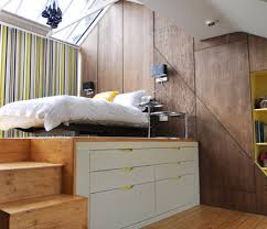 Bedroom:Charming Bedroom Design In Ceiling Mounted Bed With Stripped  Curtain And White Storage Idea