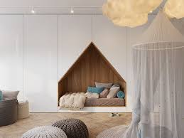 This modern bedroom design has a bed that's been built into a wall of floor-
