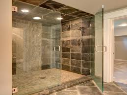 Spacious Shower Space with Clear Glass Door and Grey Shower Tile Ideas  under Bright Lighting