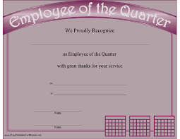 Employee Of The Quarter Certificate This Printable Certificate Recognizes The Employee Of The