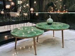 The table top is made in agra india & fully handmade. China Excellent Quality Blue Agate Stone Slabs Green Crystal Quartz Coffee Table Top Union Manufacturer And Supplier Union