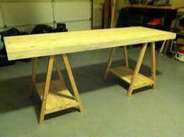 diy home office desk plans. Sawhorse Desk For Wraiting With Wood Storage And Green Carpet Diy Home Office Plans
