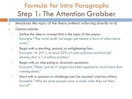 introductory conclusion paragraphs ppt video online formula for intro paragraphs step 1 the attention grabber