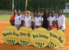 four of the eight bainbridge high softball players honored tuesday on senior day get together