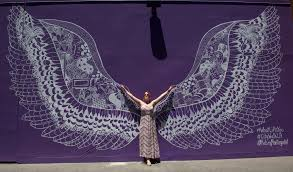 universal citywalk gets its very own angel wings by artist and social media sensation kelsey montague orange county register