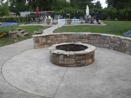 stamped concrete patio with fireplace. Fire Pit \u0026 Sitting Wall Stamped Concrete Patio With Fireplace