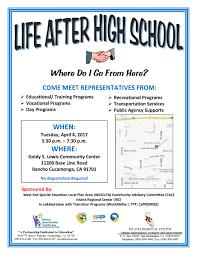 life after high school inland regional center life after high school flyer 2017