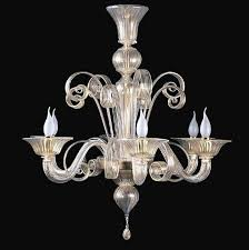 hand made murano glass chandelier series classic italian design with clean modern lines as featured finished in clear crystal and gold combination