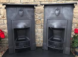 antique cast iron combination art nouveau fireplace ref cf190
